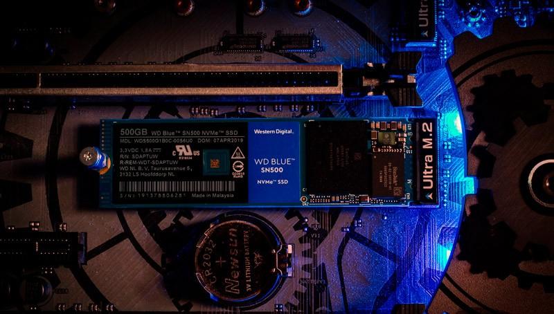 Установленный WD Blue SN500