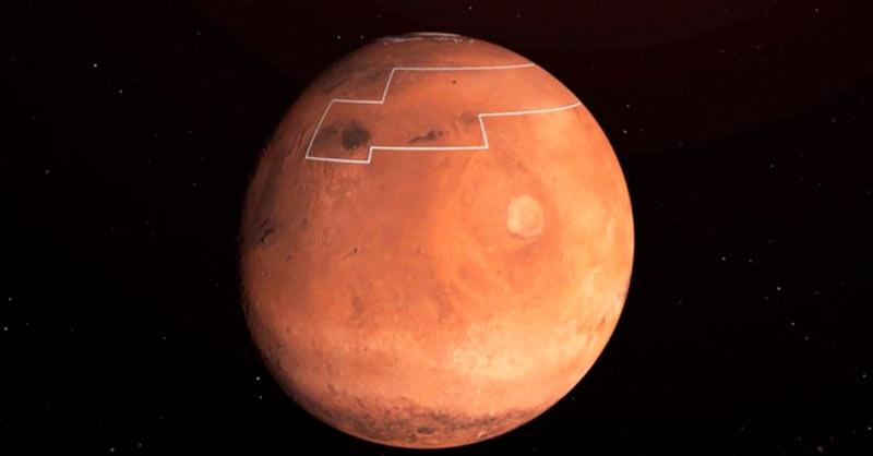 Участки воды на Марсе фото