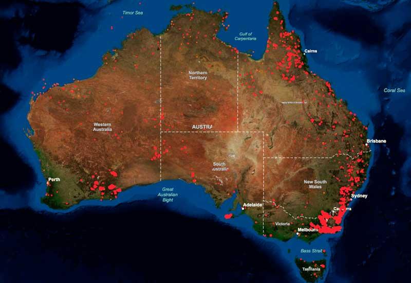 Пожары в Австралии на карте