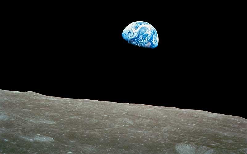 Вид космоса с Луны фото