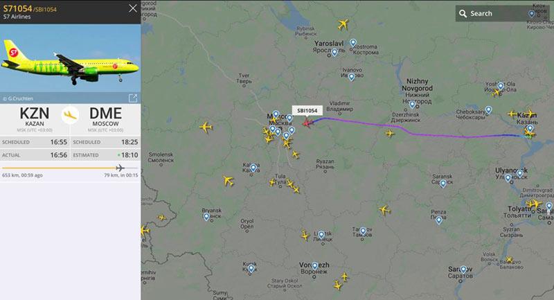 Отслеживание самолета по карте